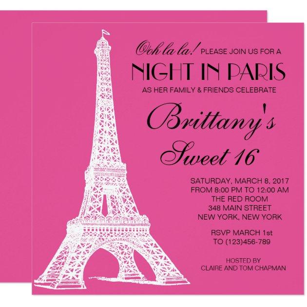 Night in Paris Sweet 16 Birthday Custom Invitation | Zazzle