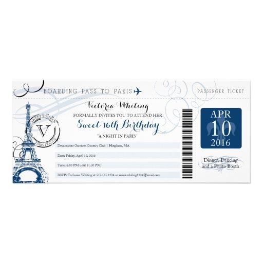 Night in Paris   Sweet 16 Birthday Custom Invitations