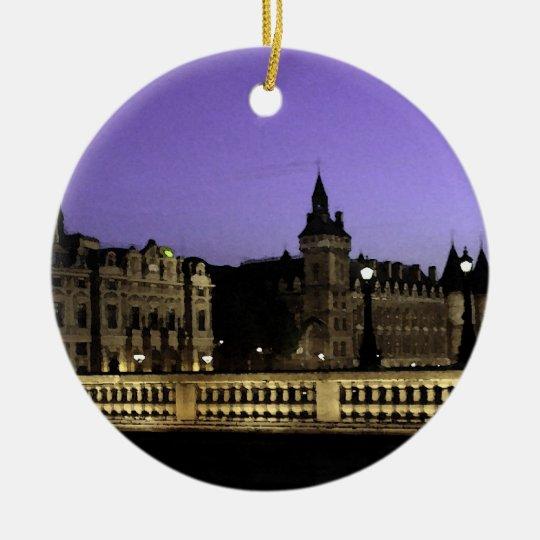 Night in Paris Watercolor Ceramic Ornament