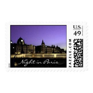 Night in Paris Watercolor Postage Stamp