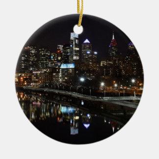 Night in Philly Ceramic Ornament