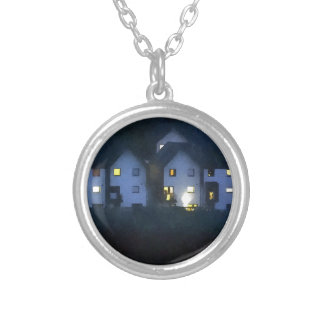 Night In The Town Round Pendant Necklace
