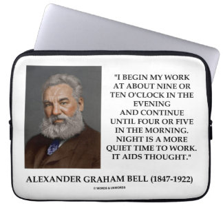 Night Is A More Quiet Time To Work It Aids Thought Laptop Computer Sleeve