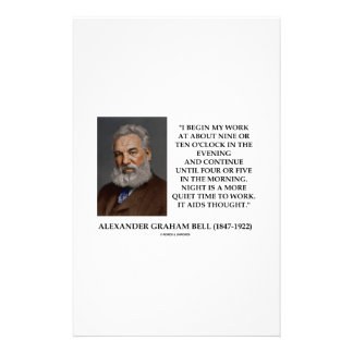 Night Is A More Quiet Time To Work It Aids Thought Personalized Stationery