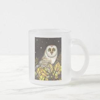 Night is full of wonders - barn owl frosted glass coffee mug
