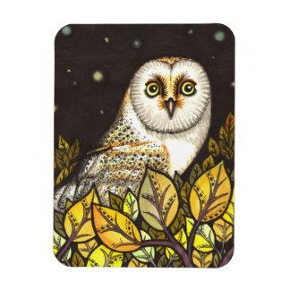Night is full of wonders - barn owl rectangular photo magnet