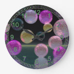 Night Jewels – Abstract Magenta & Black Brilliance Wall Clock