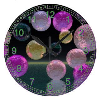 Night Jewels – Abstract Magenta & Black Brilliance Wallclocks