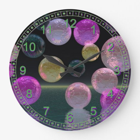 Night Jewels – Abstract Magenta & Black Brilliance Large Clock