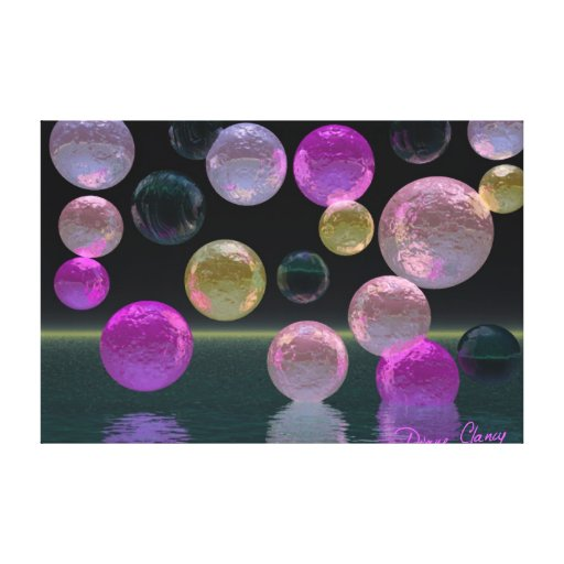 Night Jewels – Magenta and Black Brilliance Stretched Canvas Prints
