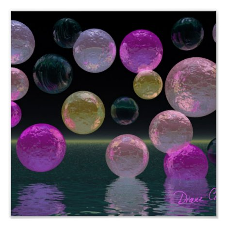 Night Jewels – Magenta and Black Brilliance Poster