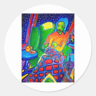 Night Knitting by Piliero Classic Round Sticker