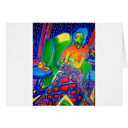 Night Knitting by Piliero Greeting Card