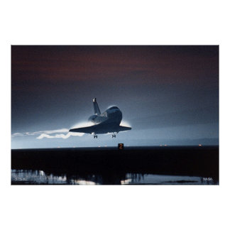 Night Landing of the Space Shuttle STS-80 Poster