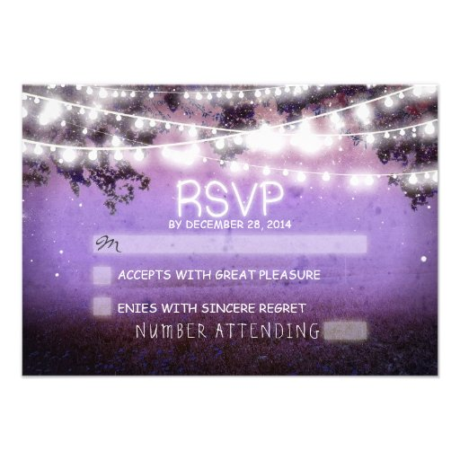 night lanterns purple wedding rsvp personalized invitations