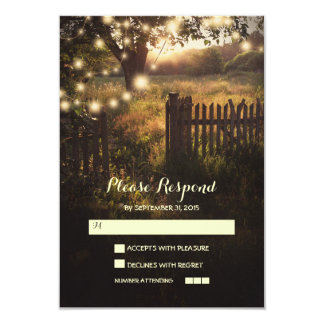 night lanterns romantic wedding RSVP card