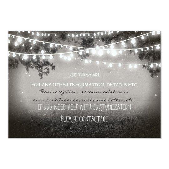 night lanterns wedding card for any information