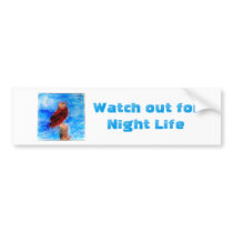 Night Life Owl Art Bumper Sticker