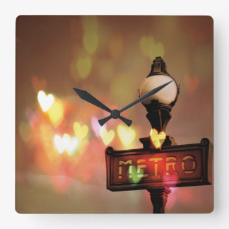 Night Life Paris Square Wall Clock