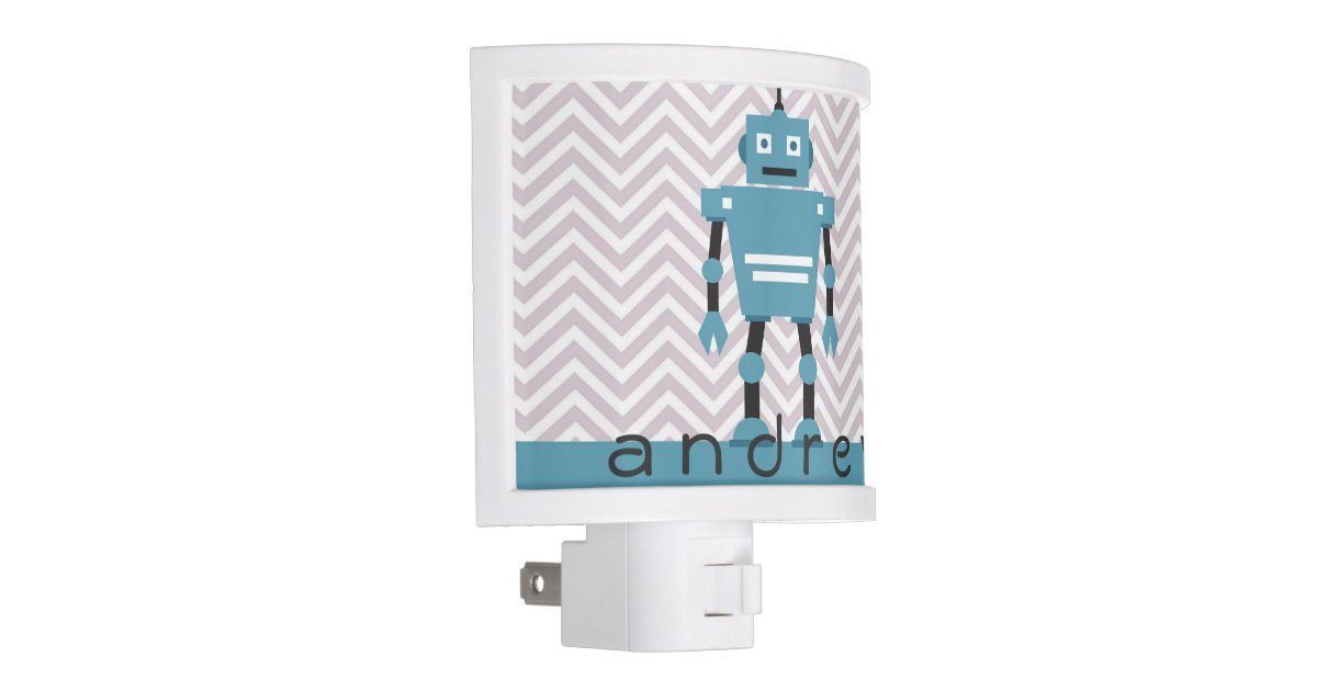 Night Light Boys Personalized Blue Robot Zazzle