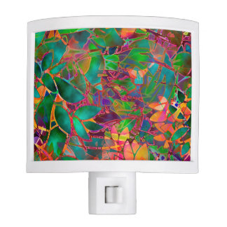 Night Light Floral Abstract Stained Glass