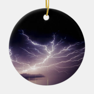 Night Lightning Ceramic Ornament