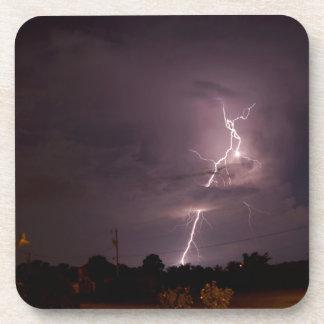 Night lightning Storm clouds Coaster