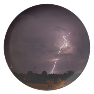Night lightning Storm clouds Dinner Plate