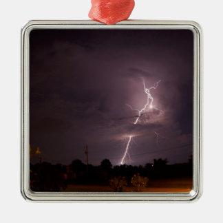 Night lightning Storm clouds Metal Ornament