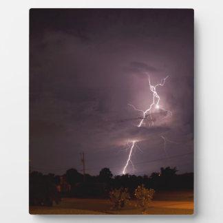Night lightning Storm clouds Plaque