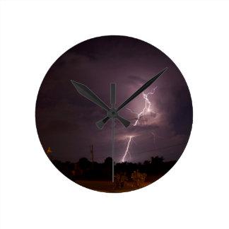 Night lightning Storm clouds Round Clock