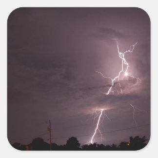 Night lightning Storm clouds Square Sticker