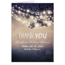 night lights blue rustic thank you cards