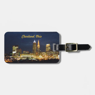 Night Lights Cleveland OH Luggage Tag