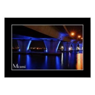 Night lights in Miami - Poster