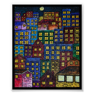 Night Lights in The City Print