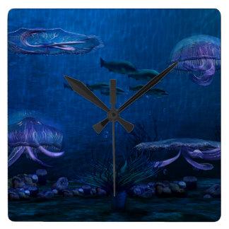 Night Lights Jellyfish Aquarium Square Wall Clock
