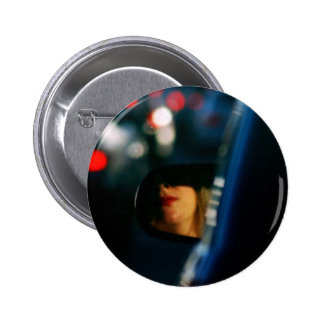 Night Lights Lady Red Lipstick Car Mirror Pinback Button