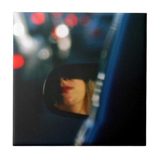 Night Lights Lady Red Lipstick Car Mirror Ceramic Tile