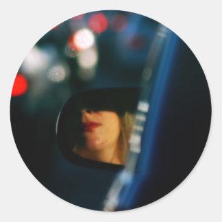 Night Lights Lady Red Lipstick Car Mirror Classic Round Sticker