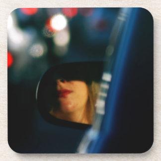 Night Lights Lady Red Lipstick Car Mirror Coaster