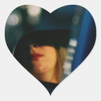 Night Lights Lady Red Lipstick Car Mirror Heart Sticker