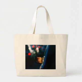 Night Lights Lady Red Lipstick Car Mirror Large Tote Bag