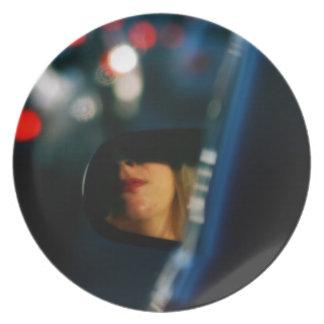 Night Lights Lady Red Lipstick Car Mirror Melamine Plate