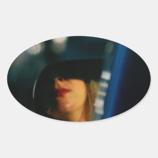 Night Lights Lady Red Lipstick Car Mirror Oval Sticker