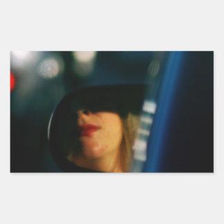 Night Lights Lady Red Lipstick Car Mirror Rectangular Sticker