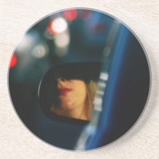 Night Lights Lady Red Lipstick Car Mirror Sandstone Coaster