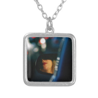 Night Lights Lady Red Lipstick Car Mirror Silver Plated Necklace