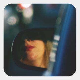 Night Lights Lady Red Lipstick Car Mirror Square Sticker