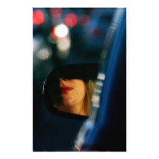 Night Lights Lady Red Lipstick Car Mirror Stationery
